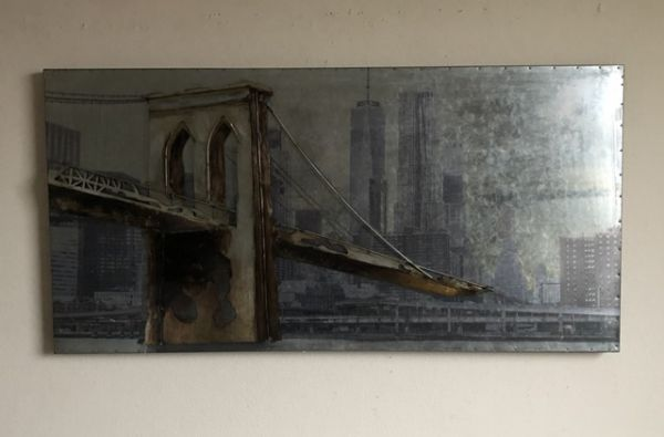 Metallbild Wand-Objekt Bild BROOKLYN BRIDGE 3-D Collage 120x60cm