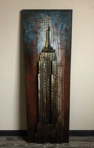 Metallbild Wand-Objekt Bild EMPIRE STATE Building 3-D Collage 120x40cm