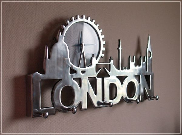 Garderobe mit Uhr LONDON Hakenleiste Aluminium Wandgarderobe