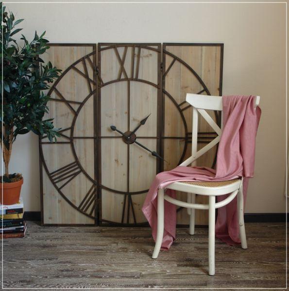 Große Wanduhr ROVER aus Holz und Metall 116x114cm