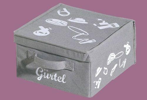 Aufbewahrungsbox GÜRTEL Box mit Deckel Stoff Grau