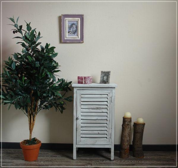 Nachttisch Jive Maritim Tür mit Lamellen Holz Grau Landhaus Shabby Chic