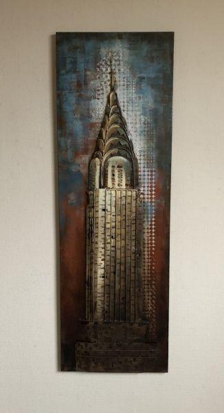 Metallbild Wand-Objekt Bild CHRYSLER Building 3-D Collage 120x40cm