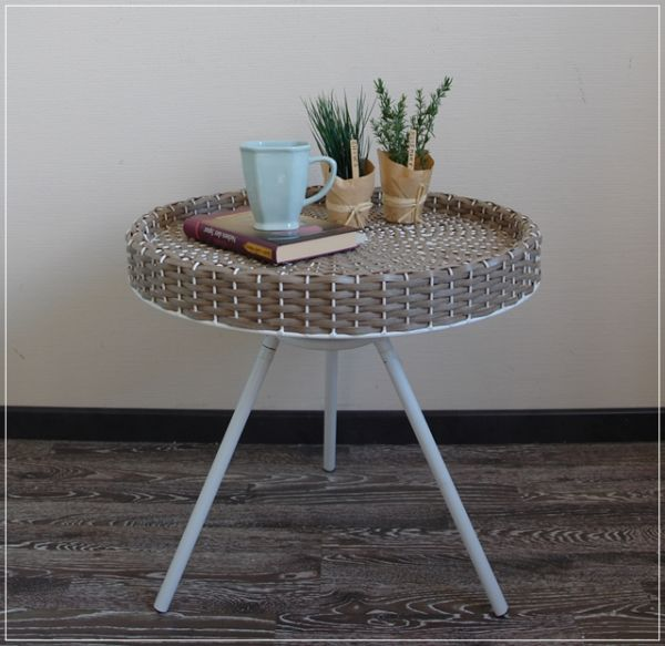 Beistelltisch RIANA Tablett-Tisch Kunstrattan Garten H50 Ø53