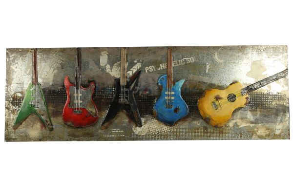 Metallbild Wand-Objekt Bild Fünf Gitarren 3-D Collage 180x60cm