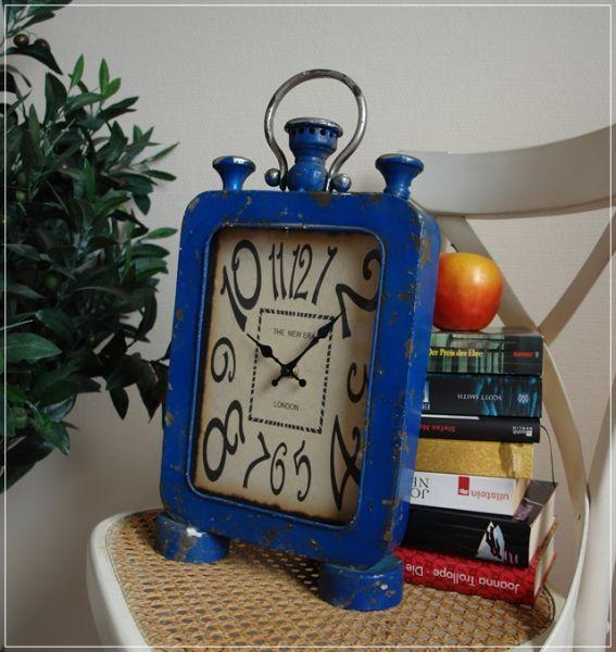Tischuhr im Taschenuhr Design Used-Look Vintage Metall Blau