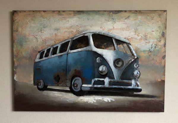 Metallbild Wand-Objekt Bild VW Bus Bulli 3-D Collage 90x60 cm