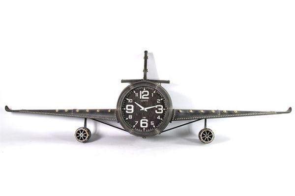 Wanduhr Design FLUGZEUG Fokker Metall Vintage Grau
