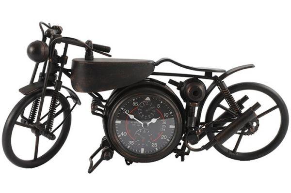 Deko-Objekt Tischuhr Motorrad Schwarz Stil Harleychopper 46x23cm