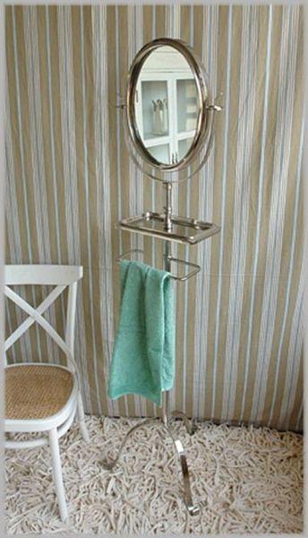 Edler Handtuchhalter m. Ablage und schwenkbarem Spiegel