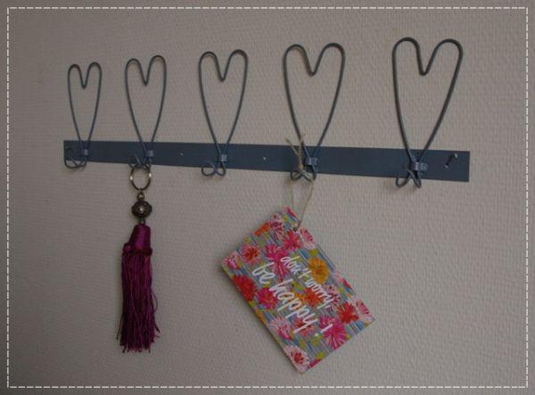 Hakenleiste Herz Metalldraht Grau Romantik Shabby Stil