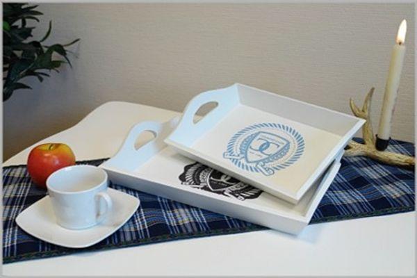 2-tlg. Tablett Set COUNTRY weiß Landhaus Stil Impressionen