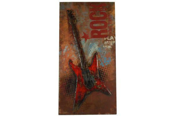 Metallbild Wand-Objekt Bild Gitarre Rot 3-D Collage 120x60cm