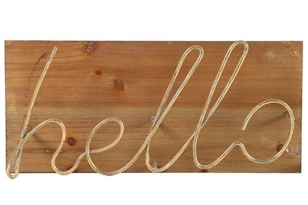 Deko-Schild HELLO Schriftzug Metall Gold Holz