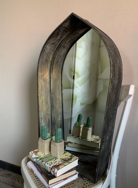 Wandspiegel Fenster Spiegelfenster Gotisch Gold Patina H73cm