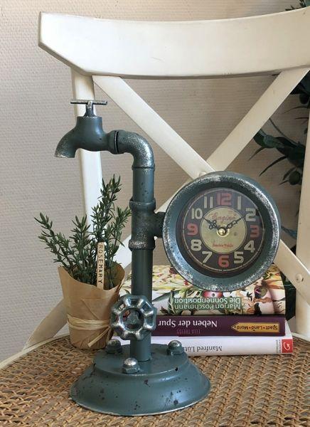 Tischuhr Wasserhahn Metall Grün Shabby Chic H30cm