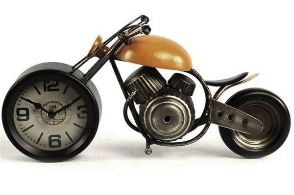 Deko-Objekt Tischuhr Motorrad Braun Typ Chopper 35x18cm