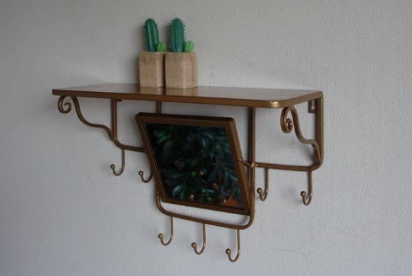 Kleine Wandgarderobe GOLD mit Spiegel Im Vintage Stil