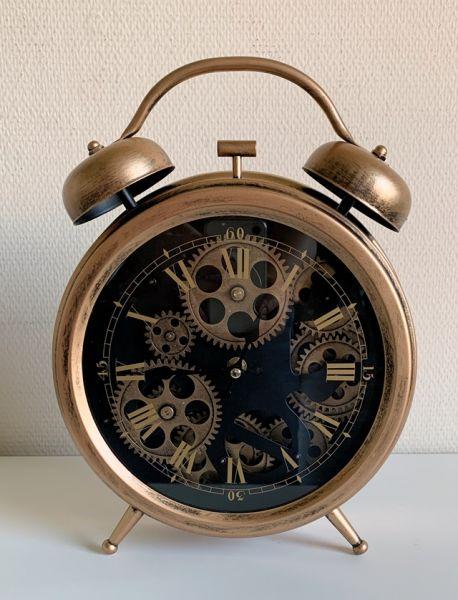 Tischuhr Design Glockenwecker Kupfer H33cm D26cm