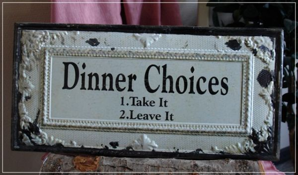 Dekoratives Schild DINNER CHOICES Sinnspruch Metall Used-Look NEU