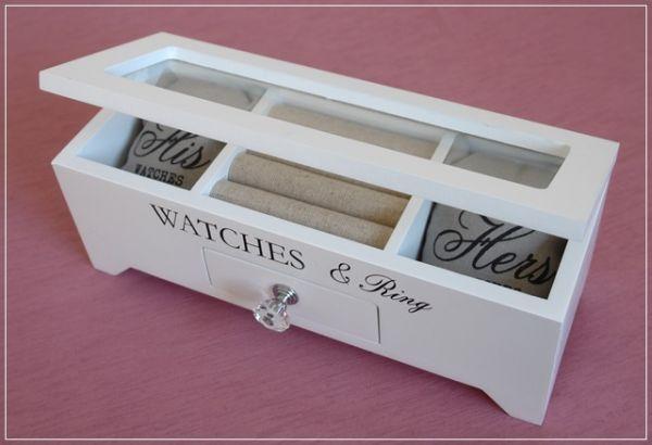 Kleiner Schmuckkasten BIJOUX Uhrenbox Weiß