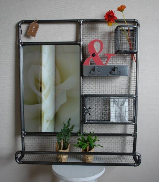 Wand-Spiegel mit Ablage Wandregal Utensilo Vintage Industrie Design