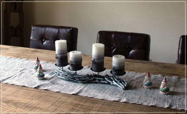 Kerzenleuchter Adventskranz Treibholz Grau mit Kerzen L48cm