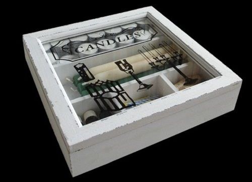 Kerzenbox CANDLES im Used-Look Box Holz Weiß Shabby