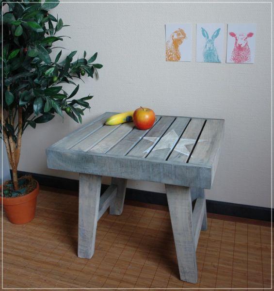 Beistelltisch Hocker Holz Grau im Used Look mit Stern