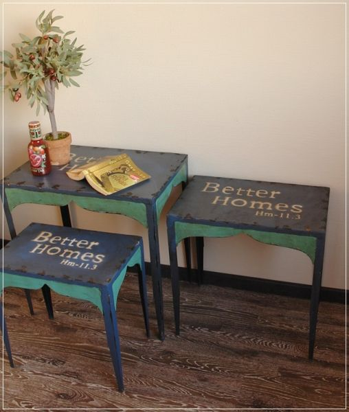 3er Tisch -Set BETTER HOMES Beistelltisch mit Schrift Metall Blau / Türkis