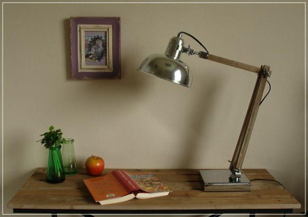 Tischleuchte PARIS edle Gelenkarmleuchte aus Metall und Holz
