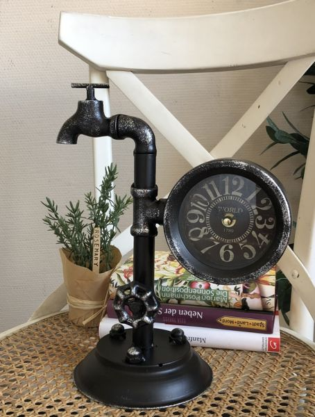 Tischuhr Wasserhahn Metall Schwarz Shabby Chic H30cm
