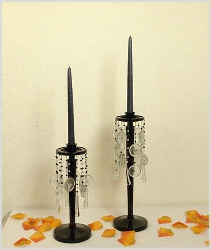 Leuchter Paar Schwarz Metall Glasanhänger H40 und 31cm Tischleuchter