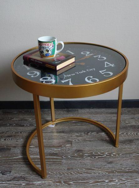 Beistelltisch Gold im Vintage Stil mit Uhr H53cm