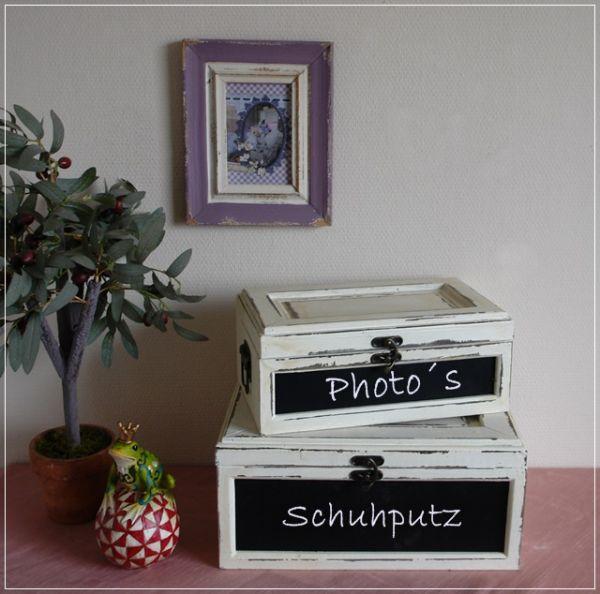 Boxen-Set aus Holz im Used-Look mit Tafel Shabby Stil