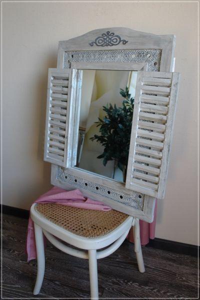 Romantischer Wandspiegel mit Laden Holz Shabby Grau