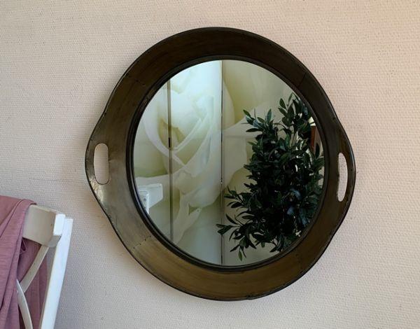 Wandspiegel Rund Metall Tablett Messing D60cm