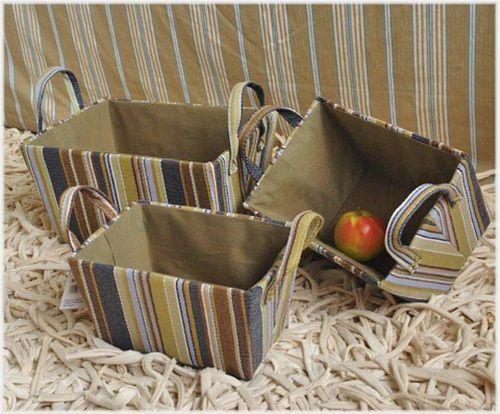 """3-tlg. Korb-Set """"green stripes"""" Henkel für Bad & Küche"""